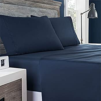 Columbia Omni-Shield Water-and-Stain Resistant Technology Sheet Set – 300TC - Cotton Sateen Weave – Naturally Soft Cool Breathable - Queen - Nocturnal