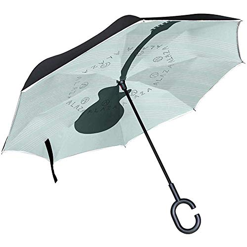 Mike-Shop Gitarren-Schattenbild-umgekehrter Regenschirm-doppelte Schicht winddichter UVschutz umgedrehter Regenschirm