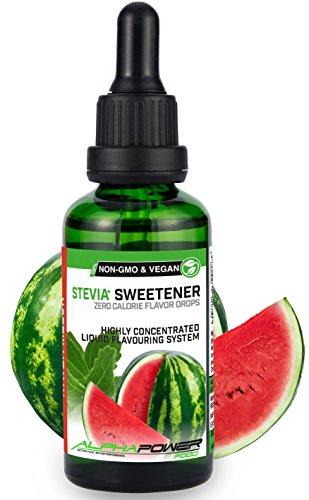 ALPHAPOWER FOOD: Stevia liquida, (1 x50ml Gusto anguria) Gusto liquido, Gocce aromatizzanti e dolcificante senza zucchero sostituto dello zucchero & calorie, dolcificante naturale, vegano