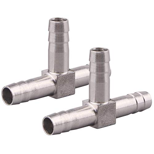 "DERNORD 2 Pack Stainless Steel Hose Barb, 3 Way Tee T Shape Barbed 5/16"" Union Home Brew Fitting (5/16""Barb x 5/16""Barb x 5/16""Barb)"