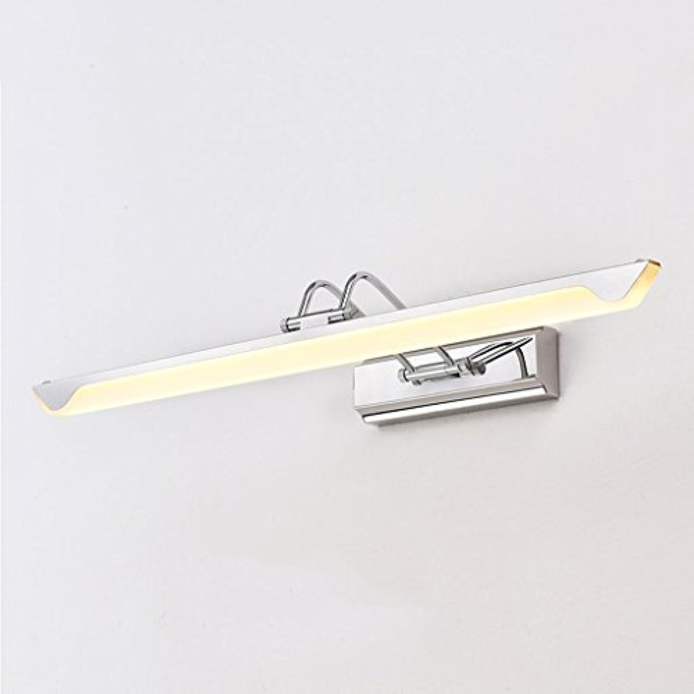 &Spiegelleuchte LED Spiegelleuchten, Edelstahl Acryl Badezimmer Badezimmer Spiegelschrank Licht Feuchtigkeit WC Wandleuchte Make-up (Farbe   Weies Licht-10W 43cm)