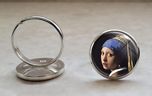 Vermeer The Girl With The Pearl Earring .925 Sterling Silver Adjustable Ring