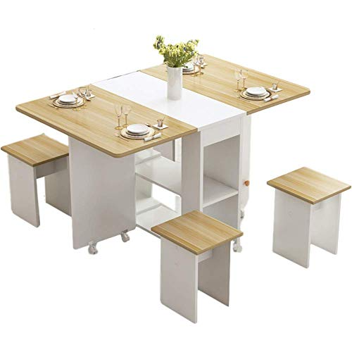 HMCL Mobile folding dining table,2-6 people retractable rectangular multi-function table, There are 4 stools & 2 Storage Shelves,For Small Spaces,White*light walnut