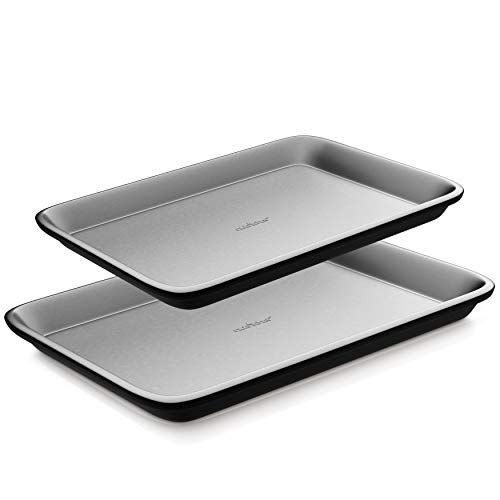 Nonstick Cookie Sheet Baking Pan – 2-Pc. Professional Quality Kitchen Cooking Non-Stick Bake Trays with Gray Coating Inside & Outside, Dishwasher Safe, PFOA, PFOS, PTFE Free – NutriChef, One Size