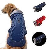 SCPET Dog Winter Coat Cozy Waterproof Windproof Vest Winter Coat Warm Dog Apparel Cold Weather Dog Jacket XS-3XL (L: Chest 24.01'-25.98, Neck 15.75', Navy.)