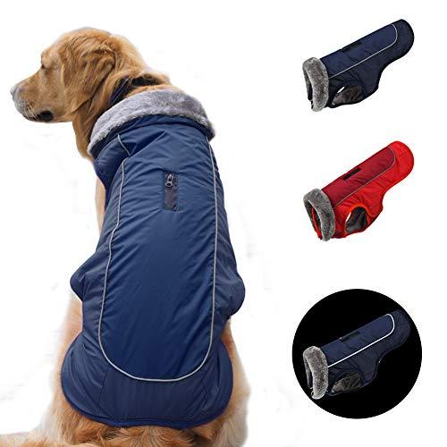 "SCPET Dog Winter Coat Cozy Waterproof Windproof Vest Winter Coat Warm Dog Apparel Cold Weather Dog Jacket XS-3XL (XL: Chest 27.56'-29.53"", Neck 16.93', Navy)"