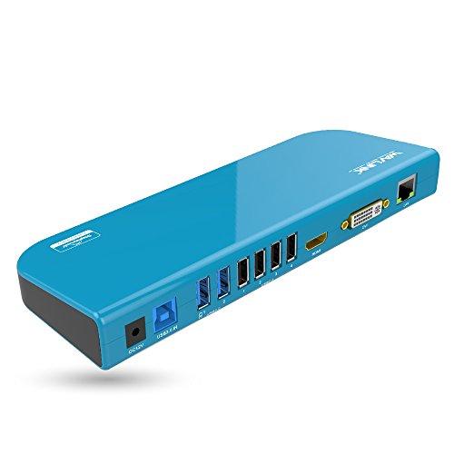 Wavlink Universal Laptop Docking Station USB 3.0 para tabletas y portátiles con Video Dual HDMI/DVI/VGA (hasta 2048×1152),Gigabit Ethernet, 6X Puerto Compatible con Windows XP, Mac OS, Android 5.0