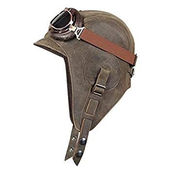 Real Leather Aviator Hat Leather Helmet Pilot Steampunk Vintage Brown for Men and Women  Large Hat with Brown Goggles