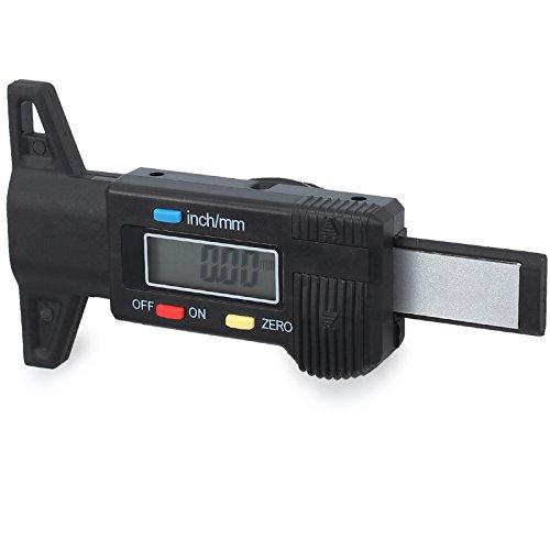 Proster Digital Reifen Profil Tiefenmesser Digitaler Reifenprofiltiefenmesser Reichweite bei 0-25,4 mm mit große LCD Anzeige Zoll / mm Einstellbare Profiltiefe Messgerät für Motorrad Auto Van Reifen