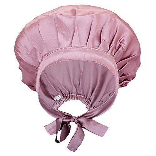 moonsix Women's Natural Silk Night Cap Satin Sleep Caps Elastic Head Cover Bonnet for Hair Care,Tape,Deep Pink