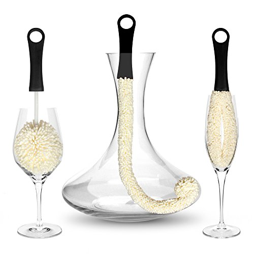 Bar Amigos ® Set of 3 - Decanter & Glassware Cleaning Brushes...