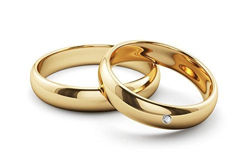 Ardeo Aurum Trauringe Damenring und Herrenring aus 375 Gold Gelbgold mit 0,02 ct Diamant Brillant Eheringe Paarpreis