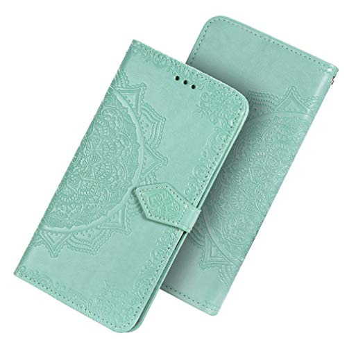 HAOTIAN Hülle für Samsung Galaxy A21S Hülle, Mandala Geprägtem PU Leder Magnetische Filp Handyhülle mit Kartensteckplätzen/Standfunktion, [Anti-Rutsch Abriebfest] Schutzhülle. Grün