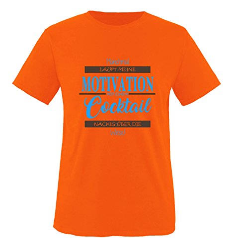 Comedy Shirts - Manchmal läuft Meine Motivation mit einem Cocktail nackig über die Wiese - Herren T-Shirt - Orange/Blau-Braun Gr. XL