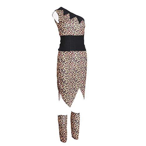 Traje de Disfraces de Cavernícola con Rodilleras Estampado Leopardo Mangas Cortas Juego de Pretender para Hombre Mujer - Tal como se Describe, B-Mujer