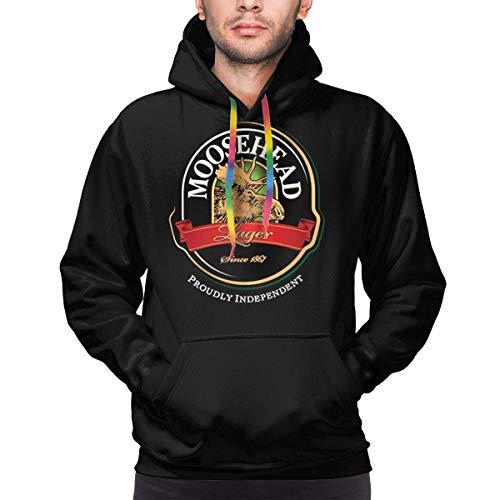 Weiopat Men's Moosehead Beer Casual Long Sleeve Sweatshirt Hoodie Pullover Black,XX-Large