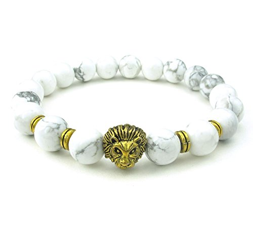 PW 天然白トルコ石 金10mm玉 獅子 数珠ブレスレット/御守り パワーストーン 【ラッピング対応】