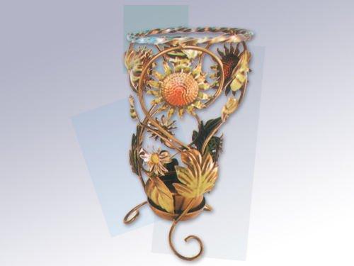 arterameferro Portaombrelli in Ferro battuto Tondo con Girasoli e Foglie Decorative