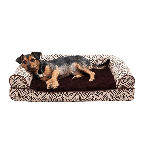 Furhaven Pet Dog Bed - Cooling Gel Memory Foam Plush Kilim Southwest Home Decor Traditional Sofa-Style Living Room Couch Pet Bed with Removable Cover for Dogs and Cats, Desert Brown, Medium