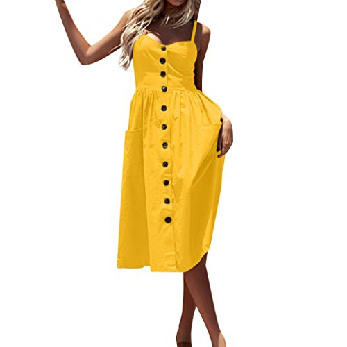 of halife maxi dresses dec 2021 theres one clear winner Womens Dresses Clearance! Women's Casual Spaghetti Strap Button Down Swing Midi Dress with Pockets
