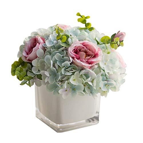 Jarrones modernos Creativa Hortensia Rose Bouquet falsificación flor Conjunto de la flor de la simulación, la sala de cristal del florero de la flor artificial for el Hogar, falso artificial Tiesto ja
