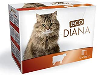Eco Diana Complete Food for Cats, 12 Pouches of 100g, Chunks with Beef in Gravy