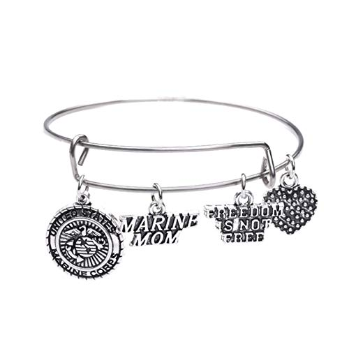 TEAMER USMC United States Marine Mom Charm Bracelet Stainless Steel Expandable Wire Bangle Women...