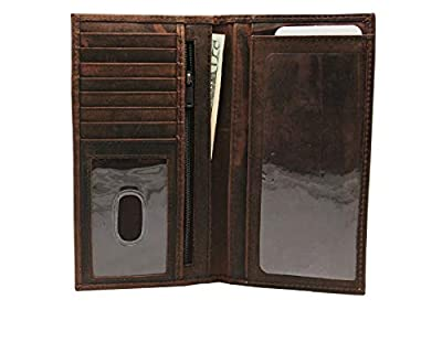 Vintage RFID Genuine Leather Dark Brown Crazy Horse Long Checkbook Cover Bi-fold Wallet Gift for Him for Her