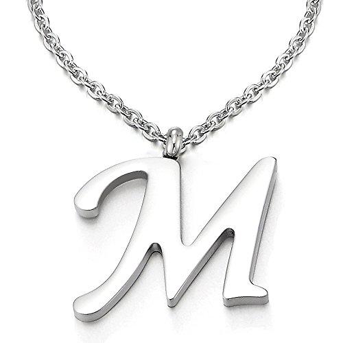 COOLSTEELANDBEYOND Nombre Inicial Letra del Alfabeto M Colgante, Collar de Mujer Hombre, Acero Inoxidable,50cm Cadena Cuerda