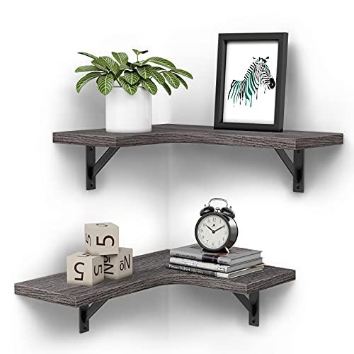 Wandregal 2 Stück Schweberegal Eckregal - Holz und Metall Industrial Regalbrett ideal für Wohnzimmer Küche Schlafzimmer Badezimmer - Grau