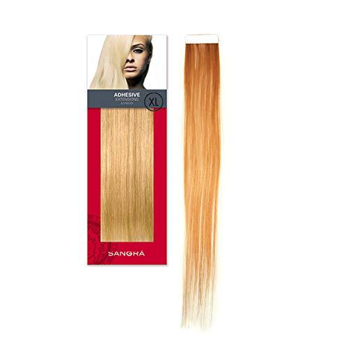 SANGRA HAIR Extensiones adhesivas de cabello natural – 20 piezas (10 sandwich) de 5cm de ancho y 50 cm de largo 55 gramos - Pelo 100% natural remy – Extrafinas y reutilizables (Castaño claro (8))