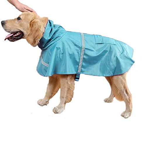 Ducomi Neon regencape voor honden, klein, middelgroot, met klittenbandsluiting, met reflecterende band en capuchon verstelbaar, S, Lichtblauw