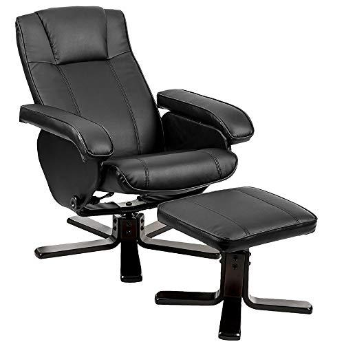VBARV Leather Recliner with Ottoman, PU Leather Lounge Armchair Recliner, 360° Swivel Heavy Duty Aluminum Base, 135° Tilt High Backrest, for Bedroom Living Room Lounge Office