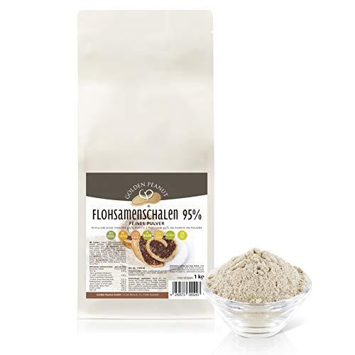 Flohsamenschalen Pulver 95 % 1 kg | Psyllium Pulver | fein gemahlen | ohne Zusätze | glutenfrei | geprüfte Qualität | Backzutat | Golden Peanut