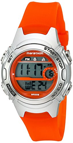 Marathon by Timex Women's TW5K96800 Digital Mid-Size Orange/Silver-Tone Resin Strap Watch