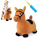 iPlay, iLearn Bouncy Pals Brown Hopping Horse, Toddler Plush Animal Hopper Toy, Kids Inflatable Ride on Bouncer W/ Pump, Indoor Outdoor Jumper, Birthday Gifts for 18 24 Months 2 3 Year Old Boys Girls