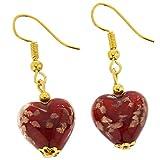GlassOfVenice Pendientes de cristal de Murano con forma de corazón, color rojo