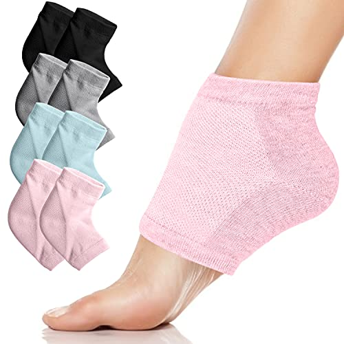 Moisturizing Heel Gel Socks - Heal Dry Cracked Dead Skin Foot Care Softener Pedicure Spa Sock Set | 4 Pairs Soft Silicone Lotion Ankle Sleeves to Repair Eczema Callus Rough Pain Relief Treatment