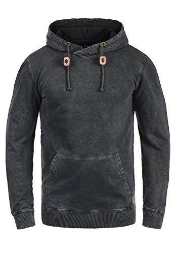 Blend Natsu Herren Kapuzenpullover Hoodie Pullover Mit Kapuze Und Cross-Over-Kragen 100% Baumwolle, Größe:XXL, Farbe:Black (70155)