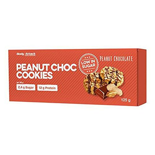 Body Attack-Low Sugar Cookies, wenig Zucker aber super lecker und Aspartamfrei, knuspriger Keks aus Weizenmehl, der perfekte Low Carb Snack für zwischendurch -Made in Germany – 6 Cookies (Peanut Choc)