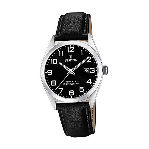 Festina Herren Analog Quarz Uhr mit Leder Armband F20446/3