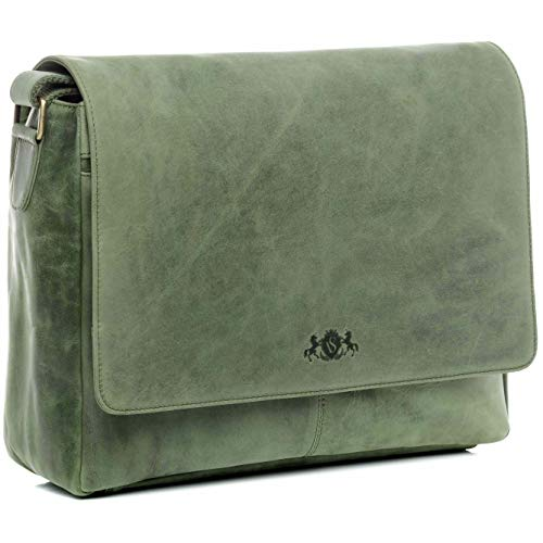 SID & VAIN Messenger Bag Spencer XL Laptop Bag Real Leather 15 inch Laptop Business Briefcase Leather Bag Women Men Green