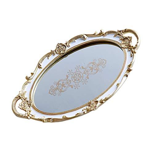 BESPORTBLE Vintage Spiegel Tablett Oval Retro Gold Spiegel Spiegel Tablett Kommode Organizer Fach Schmuck Schmuckstück Tray Schmuck Gericht Ring Halter Veranstalter Armbänder Platte für