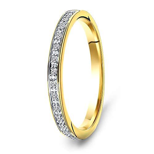 Miore anillo de eternidad para mujer en oro amarillo de 9 kt 375 con diamantes de 0,05 quilates