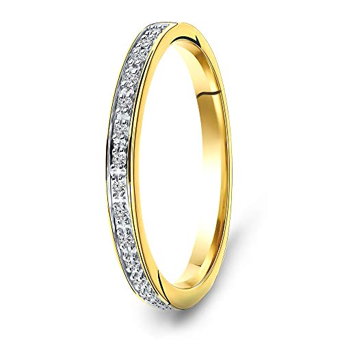 Miore Jewellery Women 0.05 Ct Diamond Eternity Ring Yellow Gold 9 Kt/375 Gold