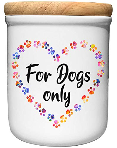 Cadouri Keramik Leckerli-Dose » for Dogs only «┊Snackdose Keksdose Aufbewahrungsdose┊mit Holzdeckel