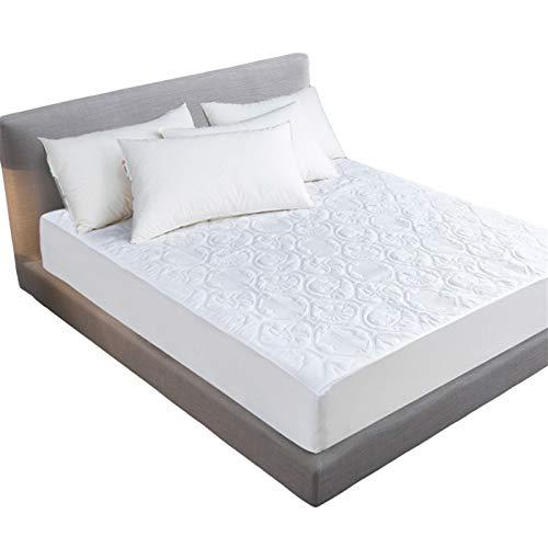 MHCYKJ Sábana impermeable de algodón transpirable y refrigerante a prueba de polvo, transpirable, ultrasoft silencioso, funda de colchón lavable para adultos (color: blanco, tamaño: 76 x 80 + 45,7 cm)