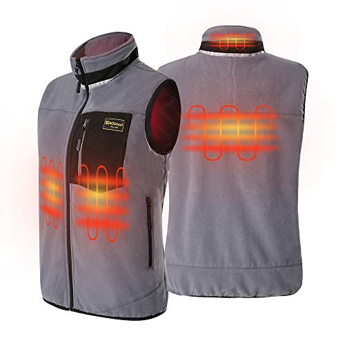 PROSmart Heated Vest Polar Fleece Lightweight Waistcoat with USB Battery Pack(Unisex,Black) (Gray, L) (Gray, XL)