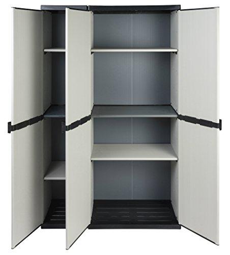 Modularer Universal Kunststoffschrank 2 in 1 mit DREI Türen und höhenverstellbaren Böden. Robuste Ausführung, in Grau. Maße BxTxH : 102 x 39,5 x 168 cm.