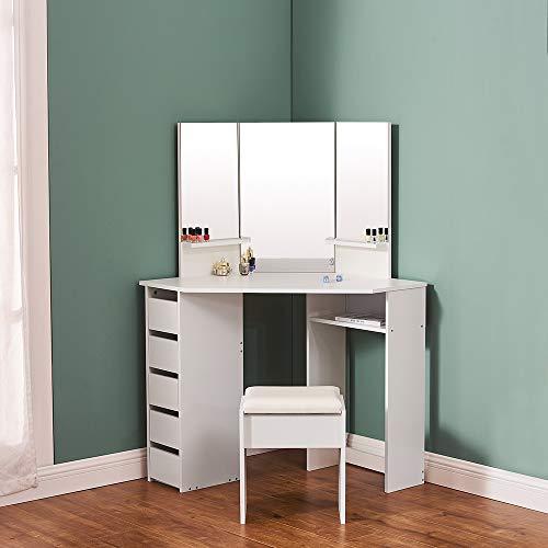 Vanity Corner Dressing Table Set with 3 Large Mirror&5 Drawers Makeup Desk Dresser 109cm (L) x 55cm (L) x 140cm (H) (White)